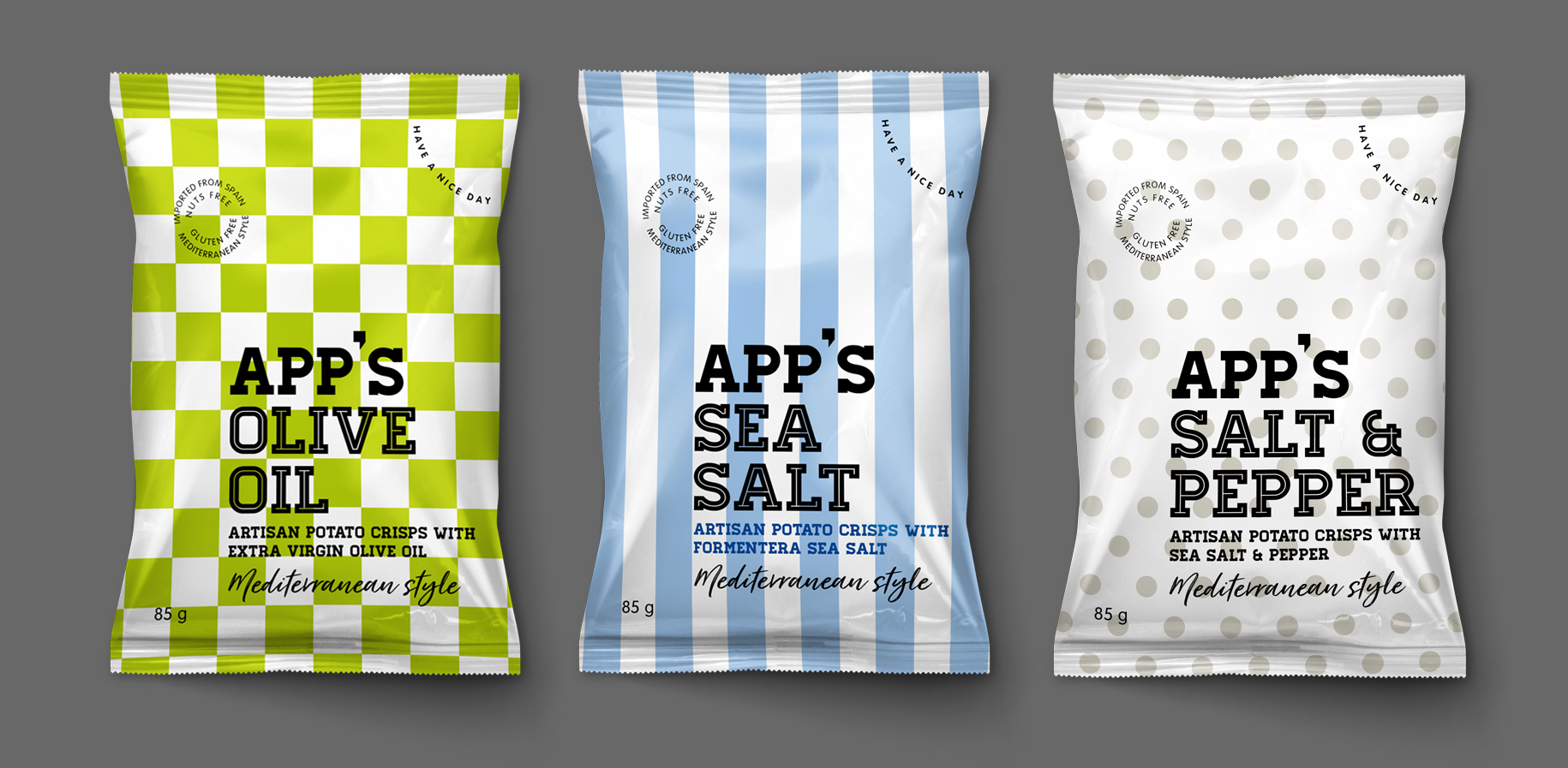 App's Diseño Packaging Snack Sea Salt Olive Oil Salt & Pepper