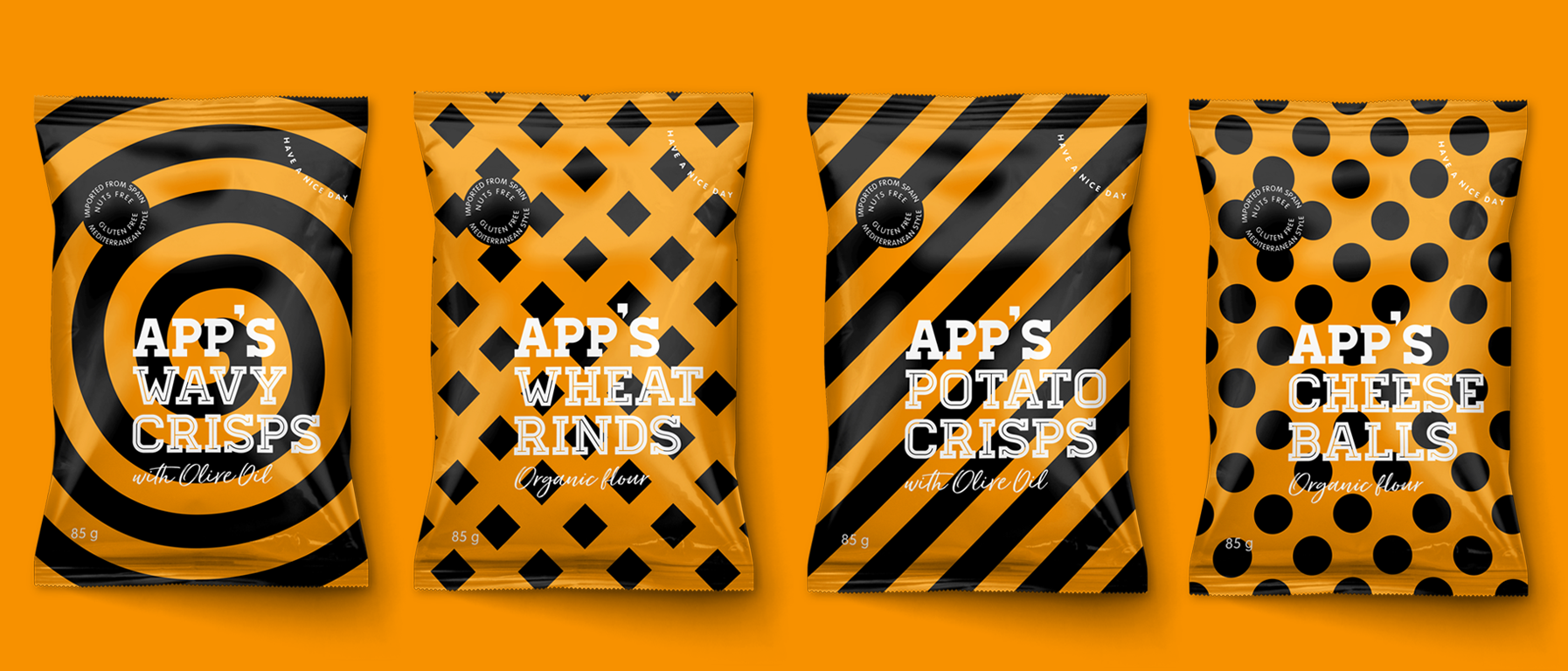App's Diseño Packaging Snack Wavy Crisps Wheat Rinds Potato Crisps Cheese Balls
