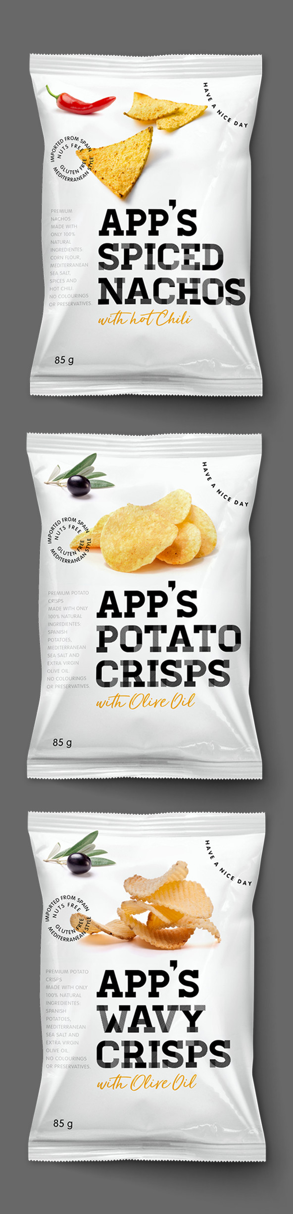 App's Diseño Packaging Snack Spiced Nachos Potato Crisps Wavy Crisps