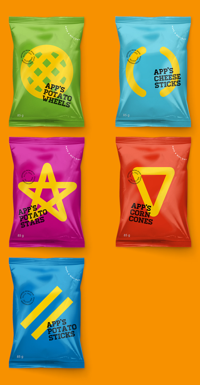 App's Diseño Packaging Snack Potato Wheels Cheese Sticks Potato Stars Corn Cones Potato Sticks