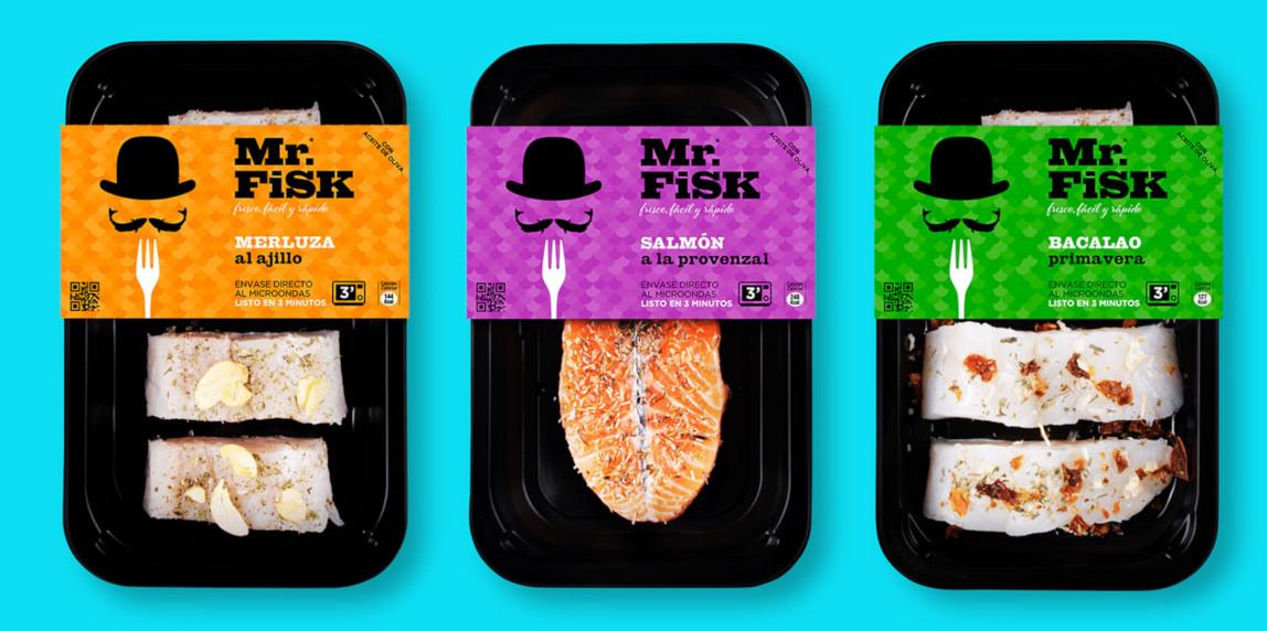 Mr. Fisk Diseño Packaging Merluza Salmón Bacalao envasado listo para comer