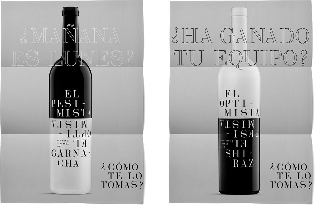 Optimista Pesimista Diseño Cartel Vino Tinto