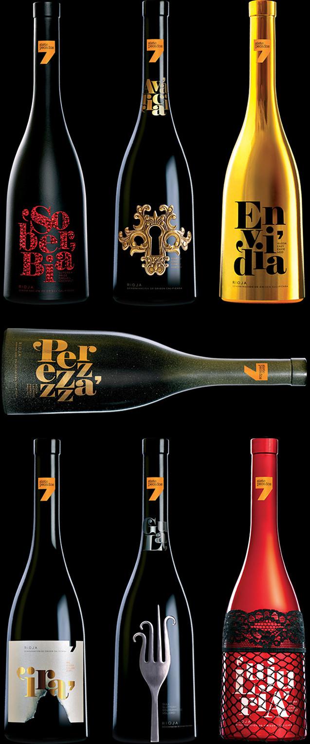 Siete Pecados Diseño Packaging Branding Naming Vino Tinto Rioja Soberbia Avaricia Envidia Ira Gula Pereza Lujuria