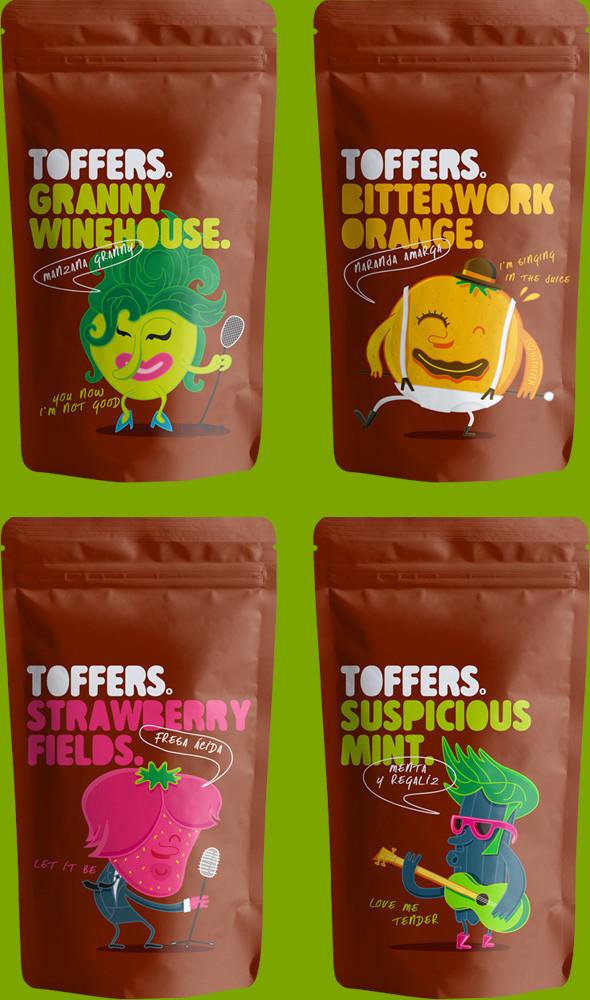 Toffers Diseño Packaging Branding Ilustración Caramelos Toffee Sabores