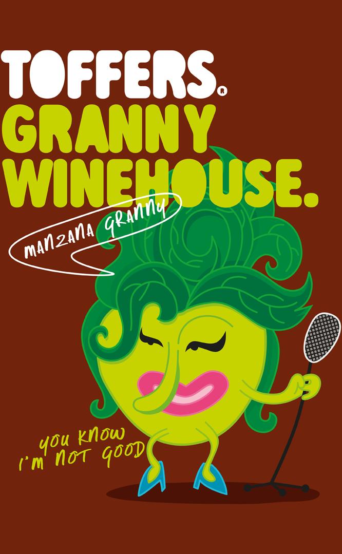 Toffers Diseño Packaging Branding Ilustración Caramelos Toffee Sabor Manzana Granny Winehouse