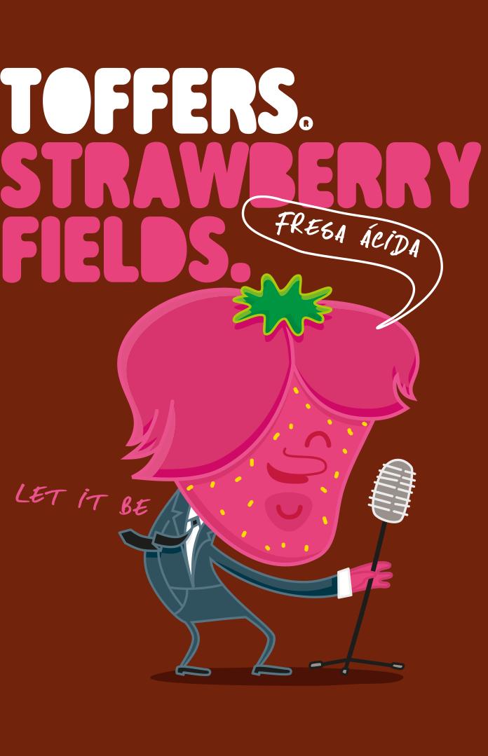 Toffers Diseño Packaging Branding Ilustración Caramelos Toffee Sabor Fresa Ácida Strawberry Fields