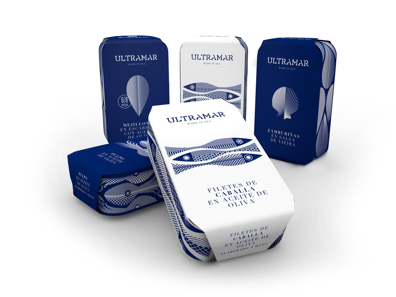 Ultramar Diseño Packaging Latas de Conservas Premium Filetes de Caballa en Aceite de Oliva