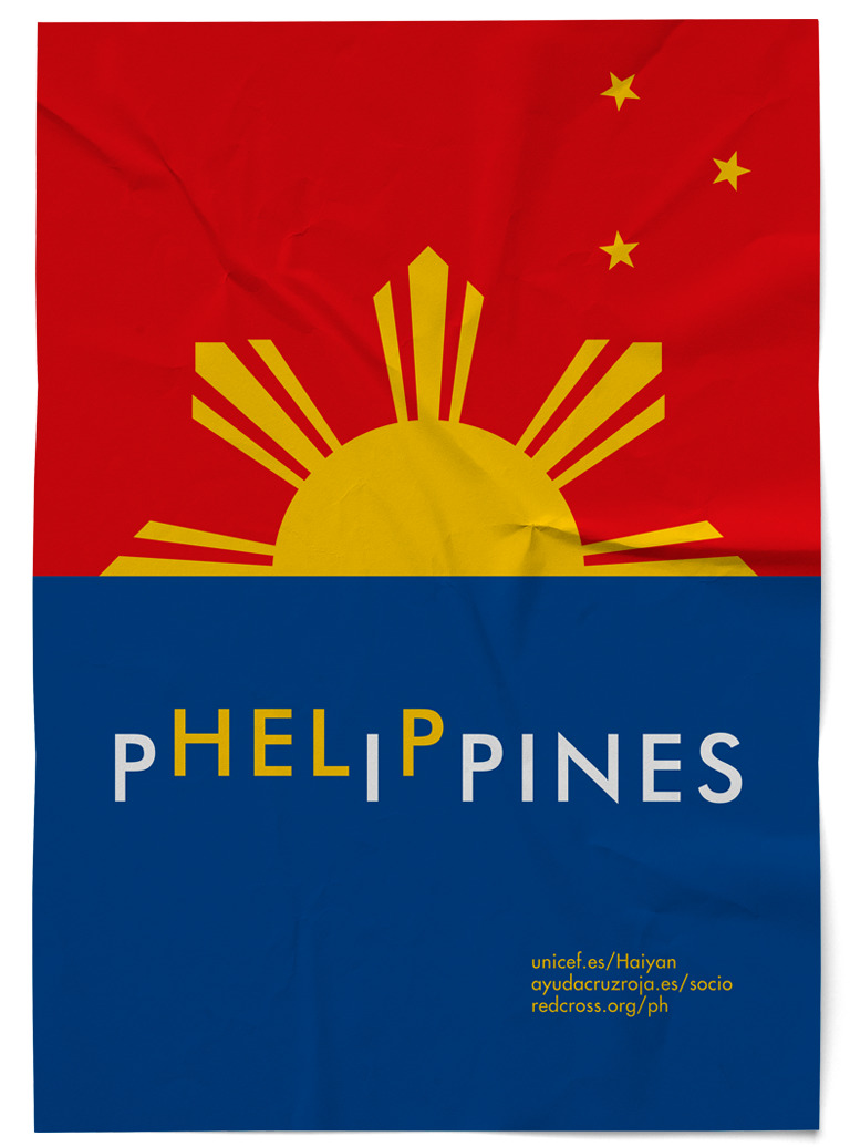 Cartel Phelippines Filipinas Unicef Cruz Roja Red Cross