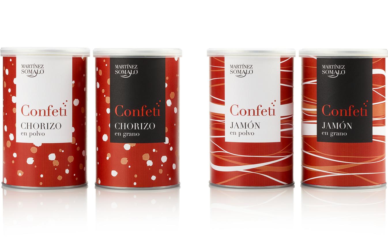 Martínez Somalo Diseño Packaging Confeti de Chorizo y Jamón en Polvo y en Grano