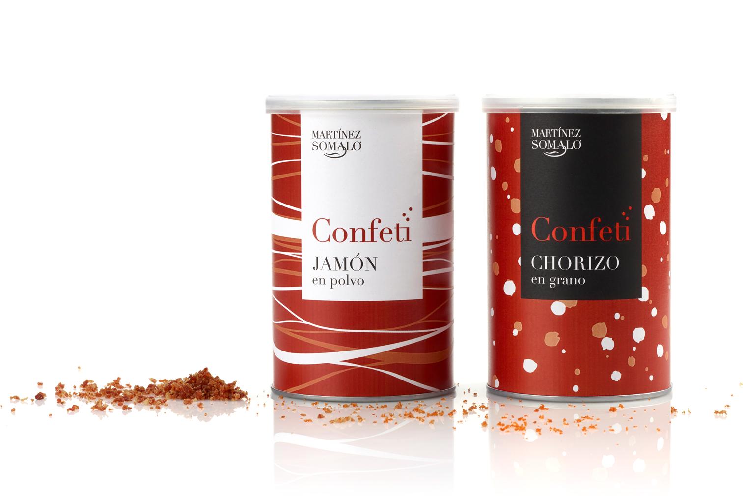 Martínez Somalo Diseño Packaging Confeti de Jamón en Polvo y Confeti de Chorizo en Grano