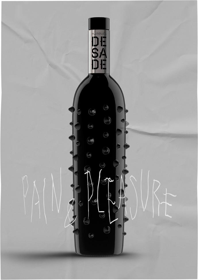 Marqués de Sade Diseño Cartel Vino Tinto Premium Pain & Pleasure Botella Pinchos