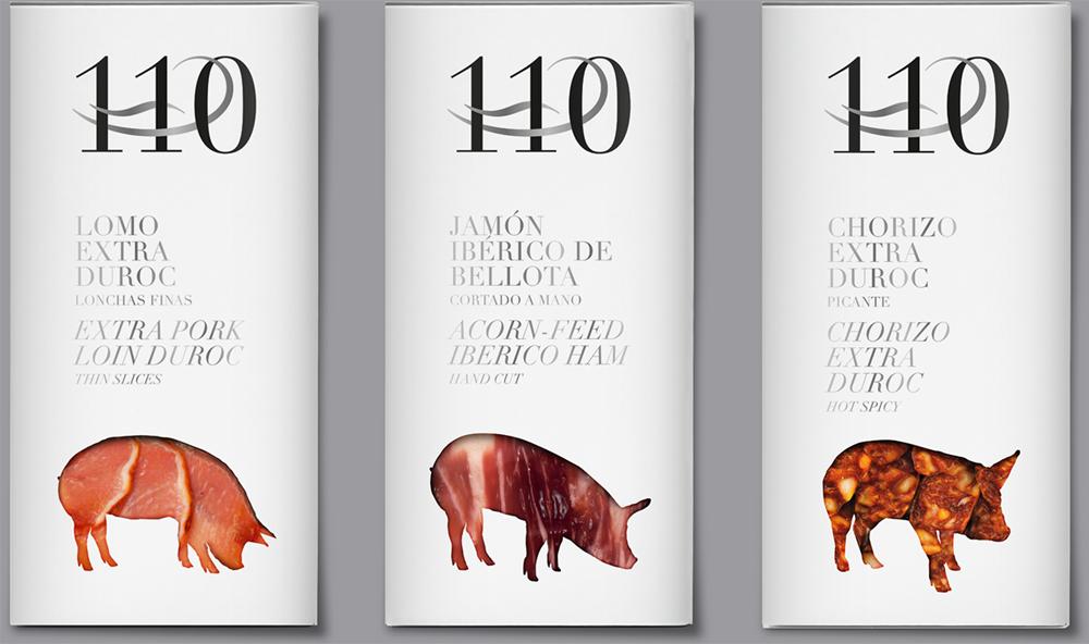Martínez Somalo 110 Diseño Packaging Lomo Extra Duroc Lonchas Finas Jamón Ibérico de Bellota Cortado a mano Chorizo Extra Duroc Picante