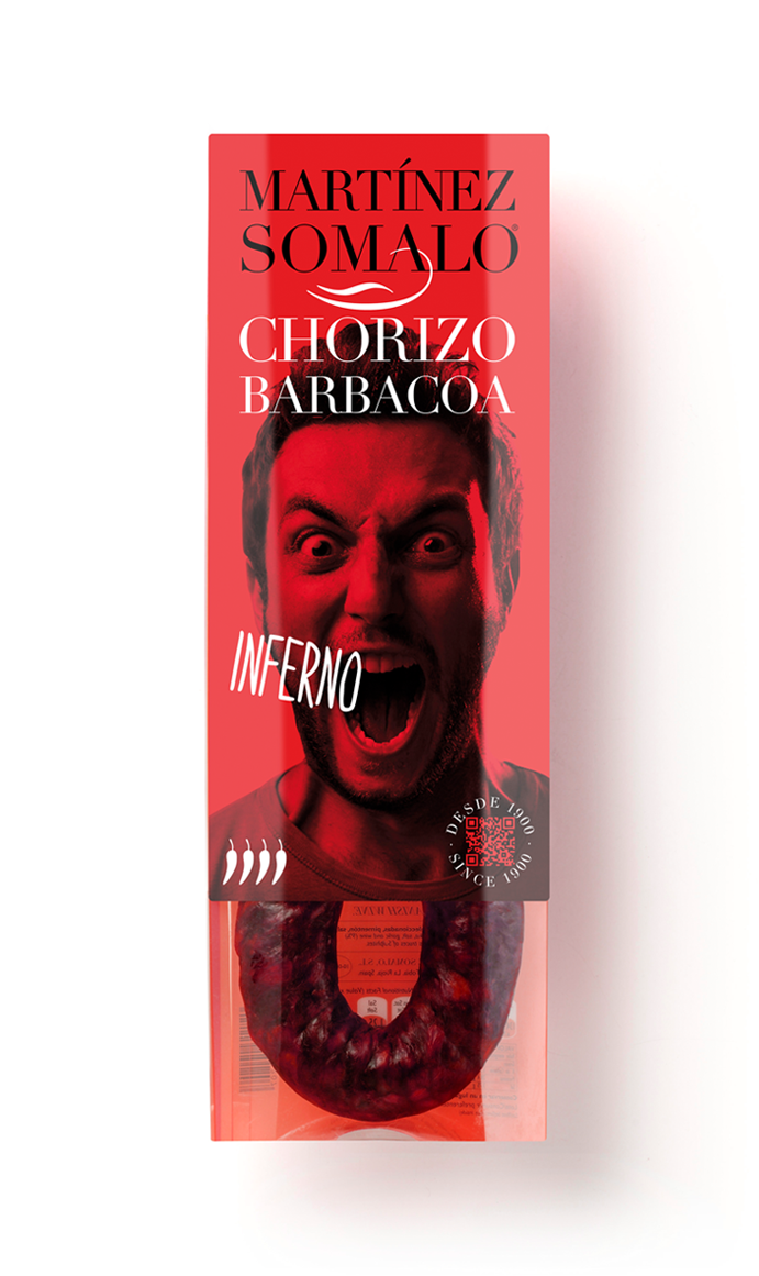 Martínez Somalo Diseño Packaging Chorizo Barbacoa Inferno