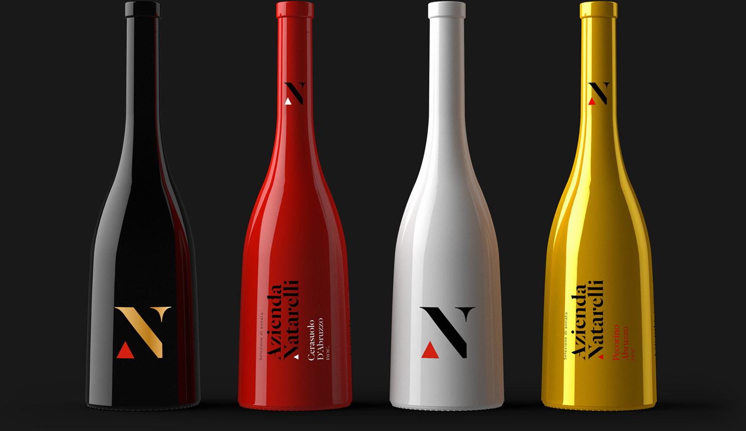 Azienda Natarelli Diseño Packaging Vino Italiano Tinto y Blanco